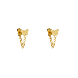 Oorstekers met vlinders en ketting 'Butterflies' goud