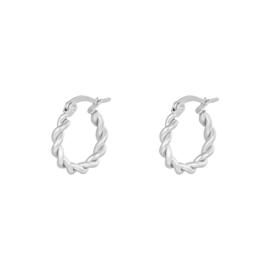 Zilveren oorringen hoops 'Twine' 15 mm