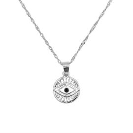 Zilveren ketting met hanger oog 'Curious Eyes'