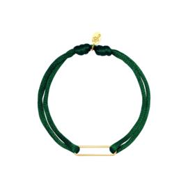 Satijnen armband met clip - groen/goud