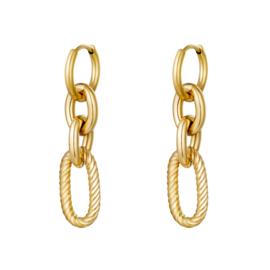 Gouden oorbellen met vier ringen 'Chunky Chains'