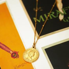 Gouden ketting met munt 'Queen'