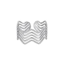 Zilveren ring met vijf laagjes 'Hailey'