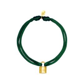 Satijnen armband met slotje - groen/goud