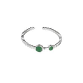 Minimalistische ring 'Anna' groen/zilver