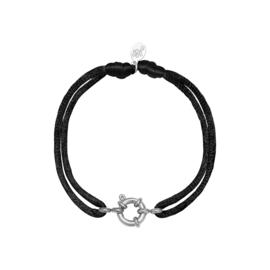 Satijnen armband met tussenstuk - zwart/zilver
