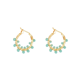 Oorbellen 'Colorful Crystal Beads' mint