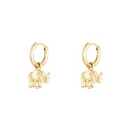 Oorbellen 'Elephant' goud