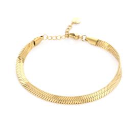 Platte armband met geweven patroon 'Tess' goud