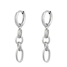 Zilveren oorbellen met vier ringen 'Sophie'