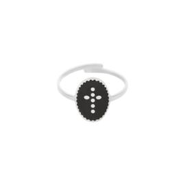 Ring met kruis 'Cross' zwart/zilver