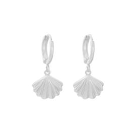 Oorbellen met hanger schelp 'Summer Vibes' zilver