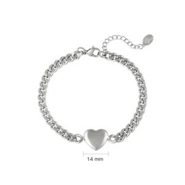 Schakelarmband met hart 'Chained Heart' zilver