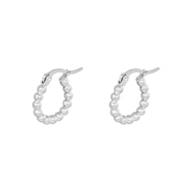 Zilveren oorring hoops met bolletjes 'Anna' 15 mm