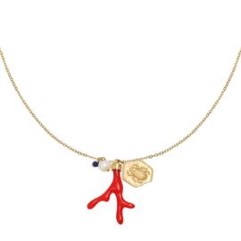 Gouden ketting met hanger koraal 'Creative'