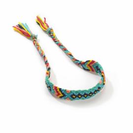 Gevlochten armband/enkelbandje 'Ibiza' blauw/groen/geel