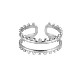 Ring met twee lagen 'Mae' zilver