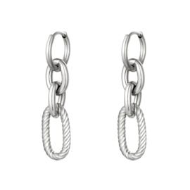 Zilveren oorbellen met vier ringen 'Chunky Chains'