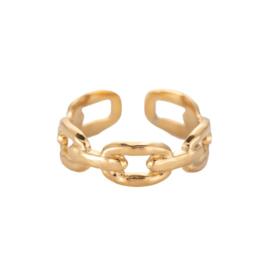 Ring met schakels 'Chunky Chain' goud