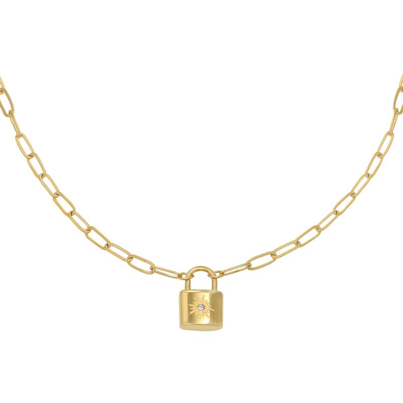 Schakelketting met slotje 'Little Lock' goud
