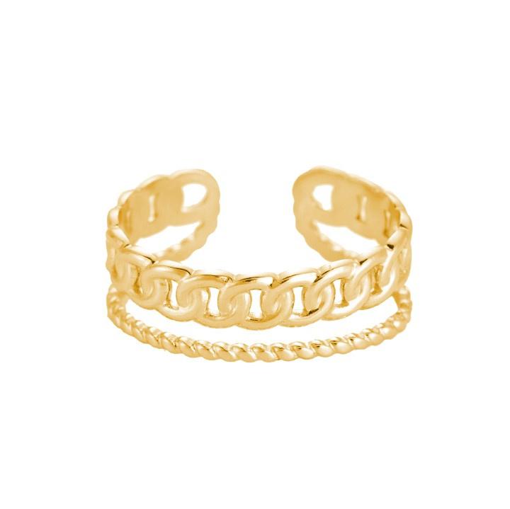 Ring met twee lagen 'Ivy' goud