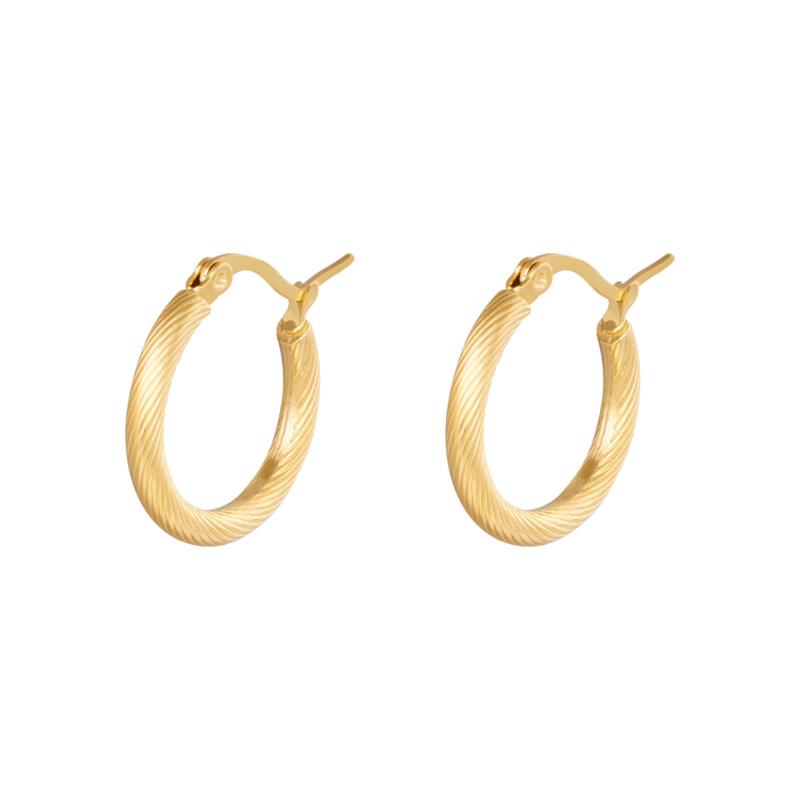 Gouden oorringen hoops 'Twisted' 22 mm