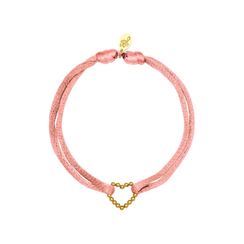 Satijnen armband met hart - lichtroze/goud
