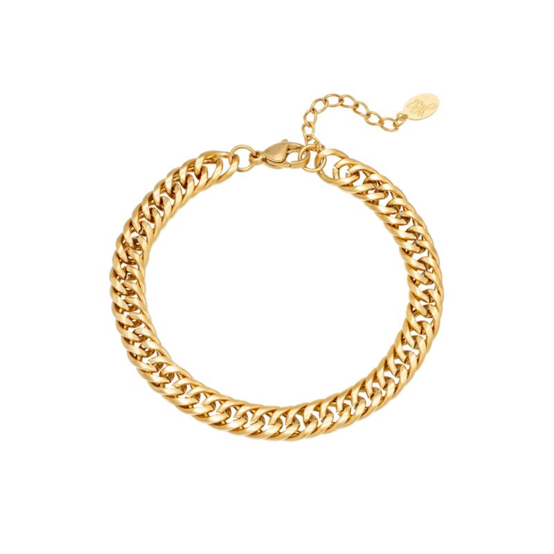Gouden schakelarmband met brede schakel 'Judy'