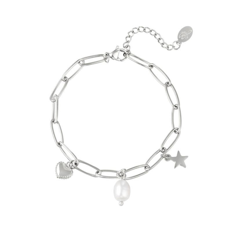 Zilveren schakelarmband met bedels 'Holly'