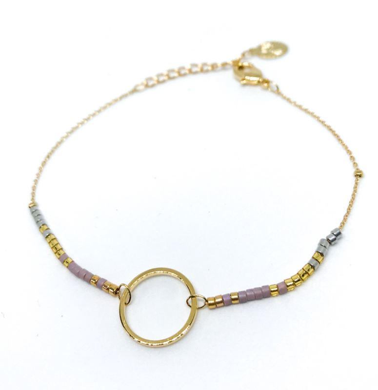 Armband 'Milou' goud/lila