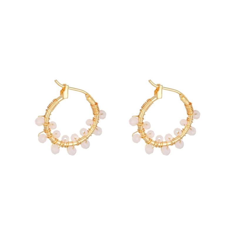 Oorbellen 'Colorful Crystal Beads' roze