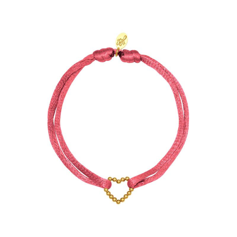 Satijnen armband met hart - rood/goud