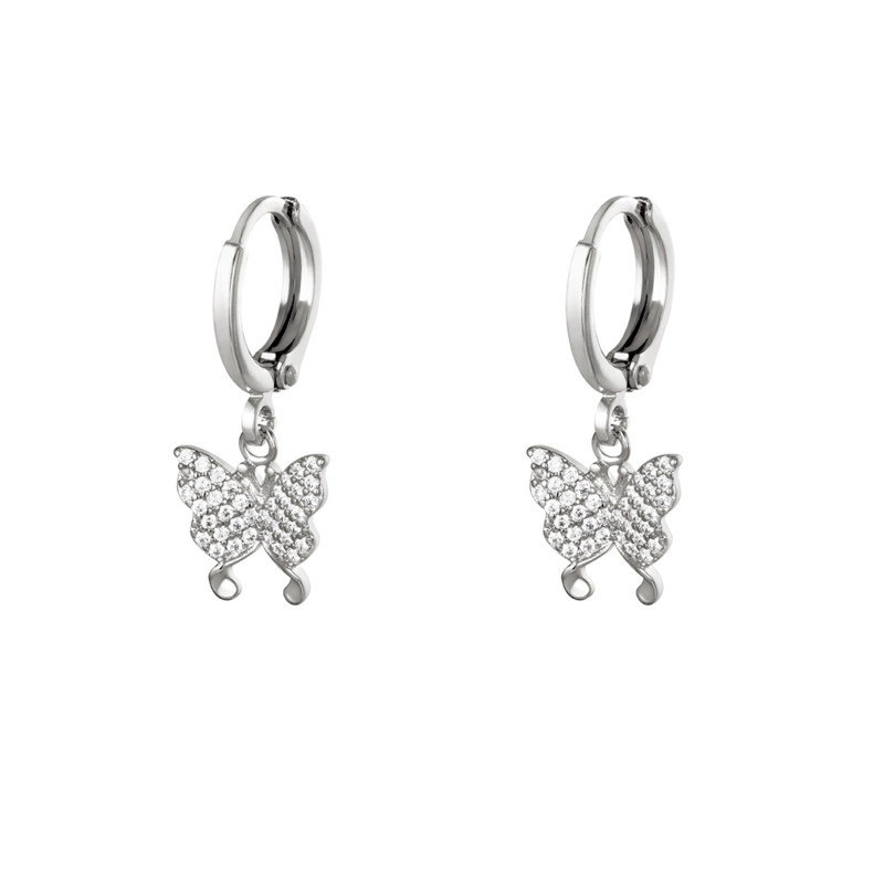 Zilveren oorbellen met vlinder 'Mila'