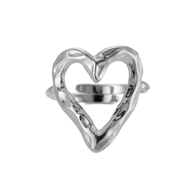 Ring met hart 'Rough Heart' zilver