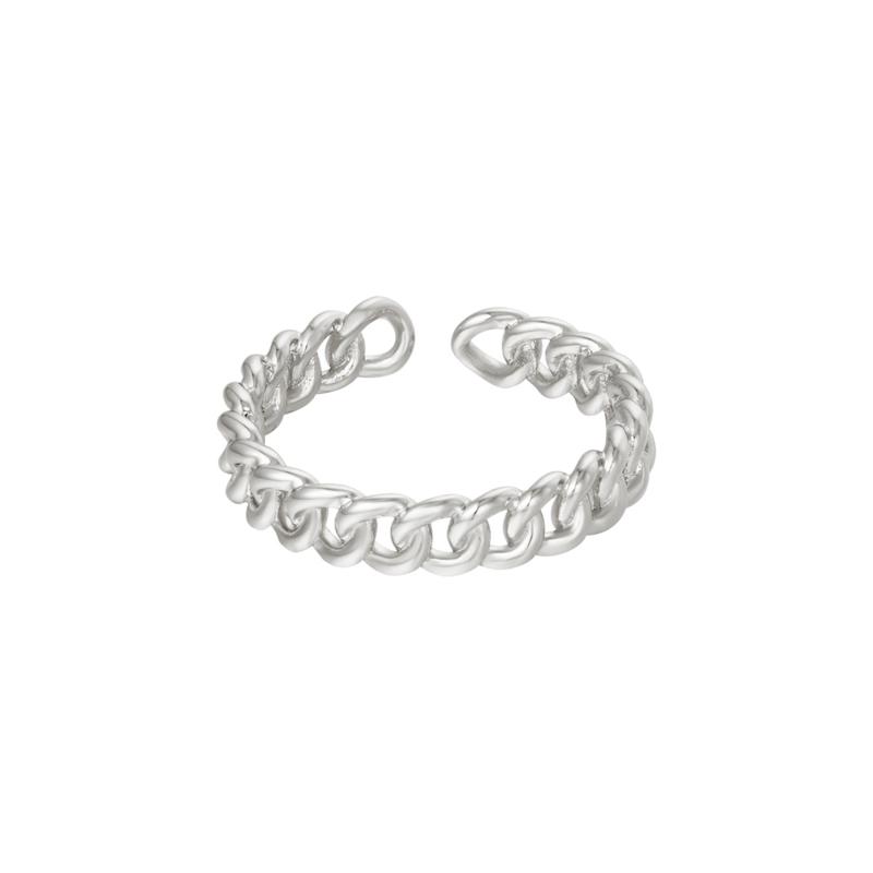 Ring met schakels 'Chained' zilver
