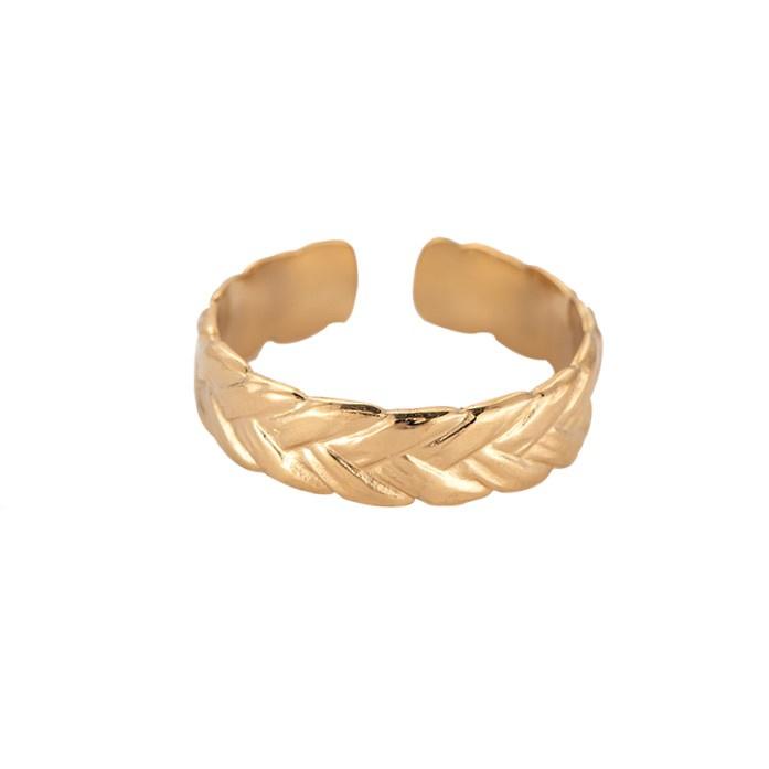 Gevlochten verstelbare ring 'Alice' goud