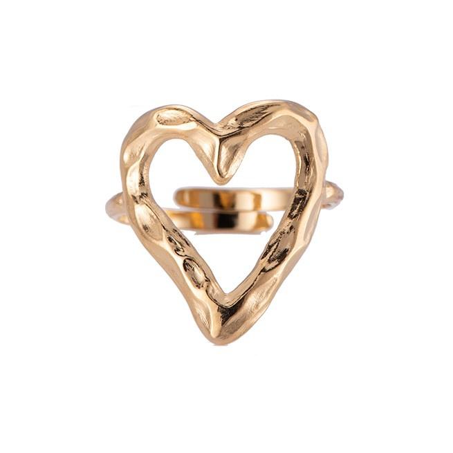 Ring met hart 'Rough Heart' goud