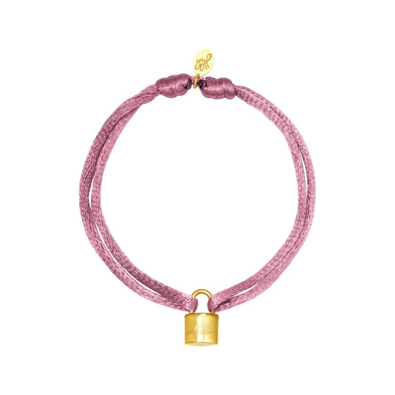 Satijnen armband met slotje - paars/goud