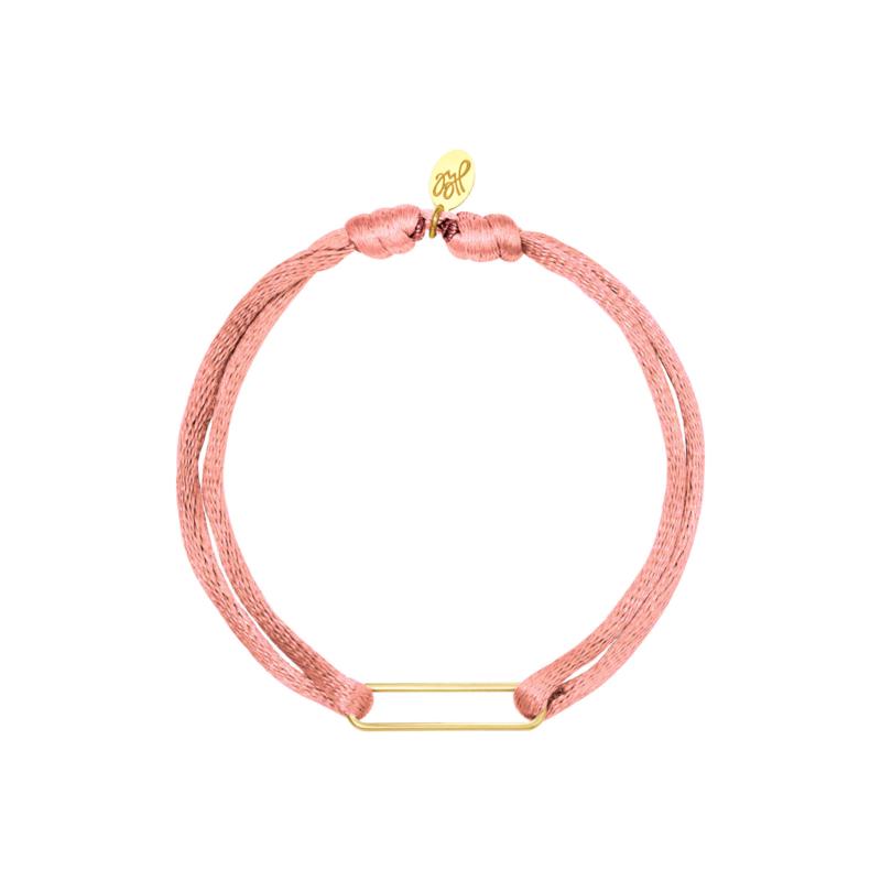 Satijnen armband met clip - lichtroze/goud