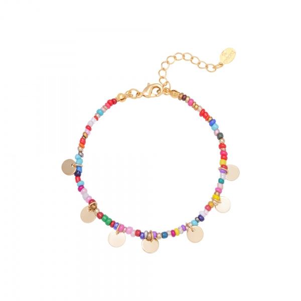Armband met gekleurde kraaltjes 'Happy Times' multi/goud