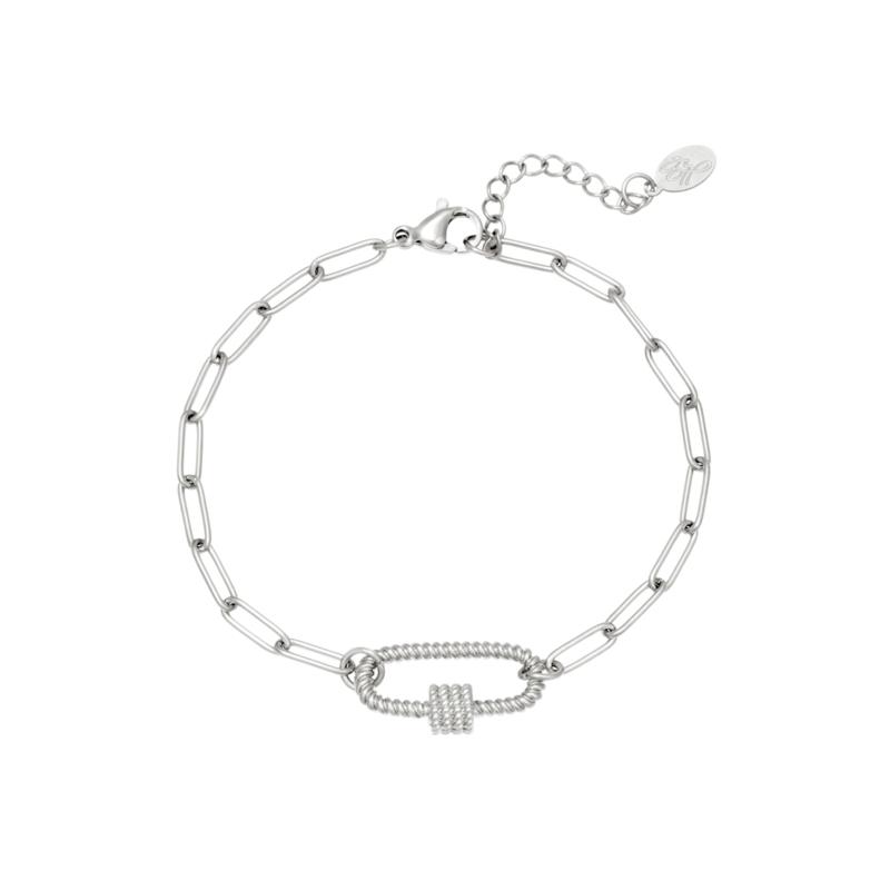 Zilveren schakelarmband met tussenstuk 'Mia'