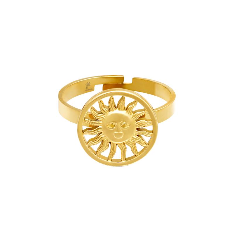 Gouden ring met zon 'Sunny Vibes'