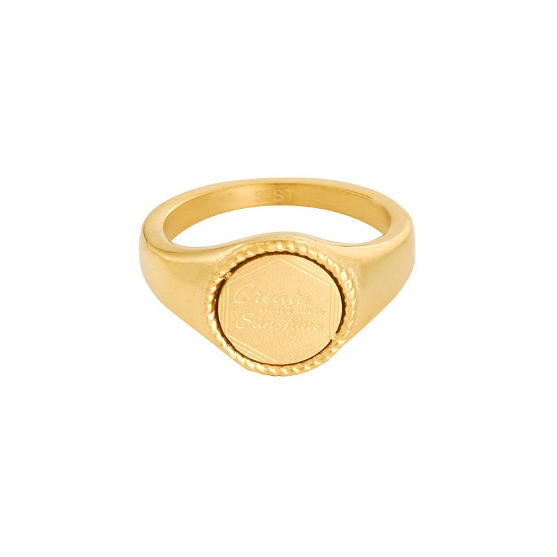 Zegelring 'Create Your Own Sunshine' goud