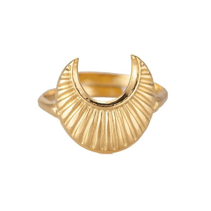 Gouden ring met maan 'Luna'