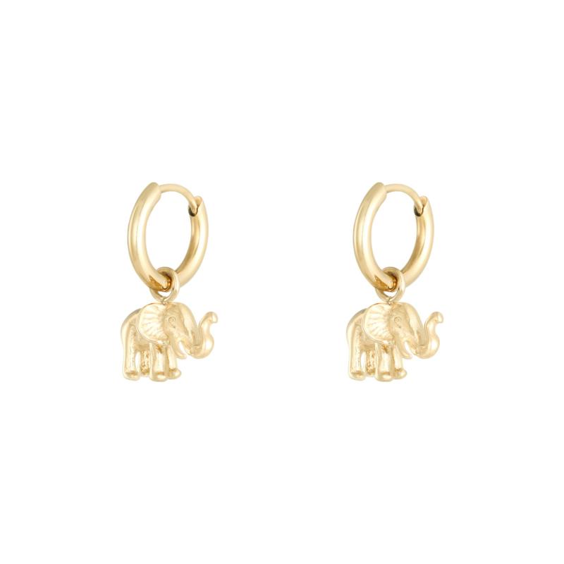 Oorbellen met hanger olifant 'Elephant' goud