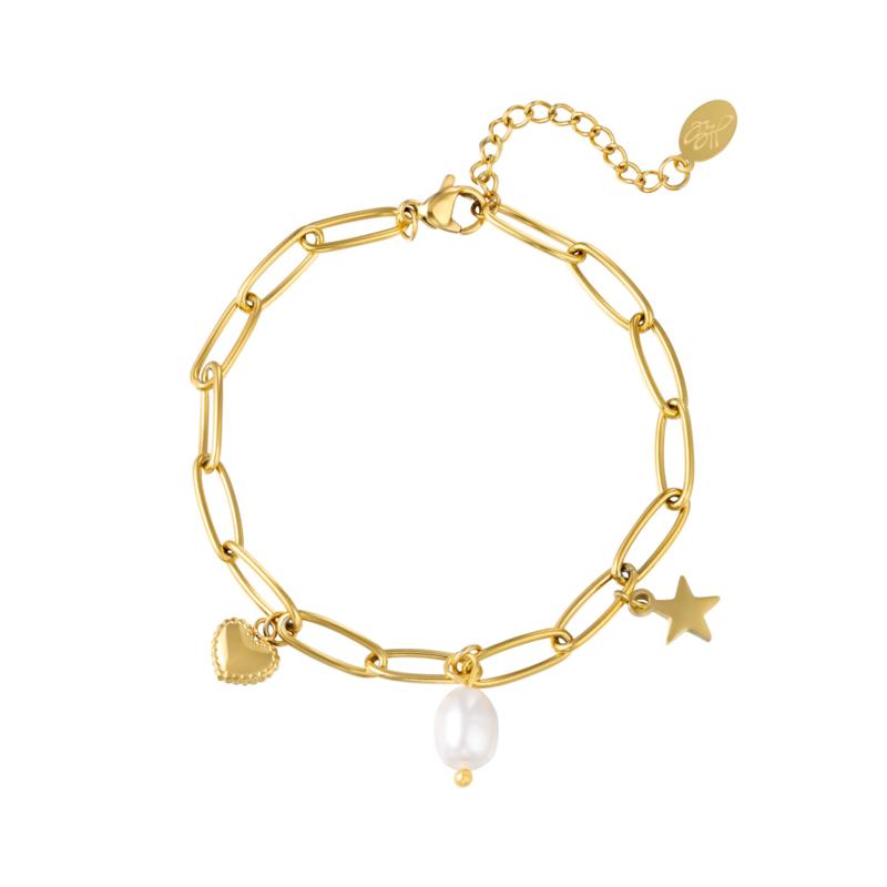 Gouden schakelarmband met bedels 'Holly'