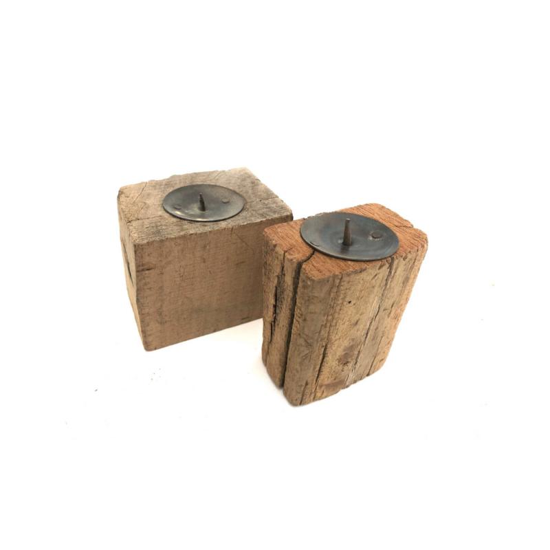 Kandelaar gerecycled hout