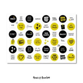 Stickervel 'Cadeaustickers zwart-goud'