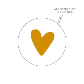 Sticker ' Goud hart' (10 stuks)