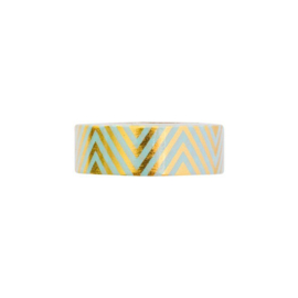 Washi tape 'Mint met goudfolie chevron'